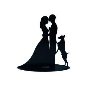 figura-pastel-metalica novios con-perro