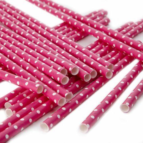 pajitas-papel-rosa-fucsia-con- lunares