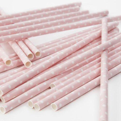 pajitas papel rosa bebe con lunares