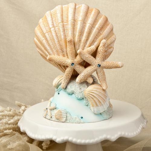 figura tarta conchas y estrellas de mar