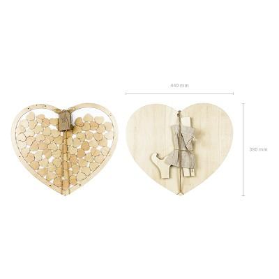 Wooden heart guest book
