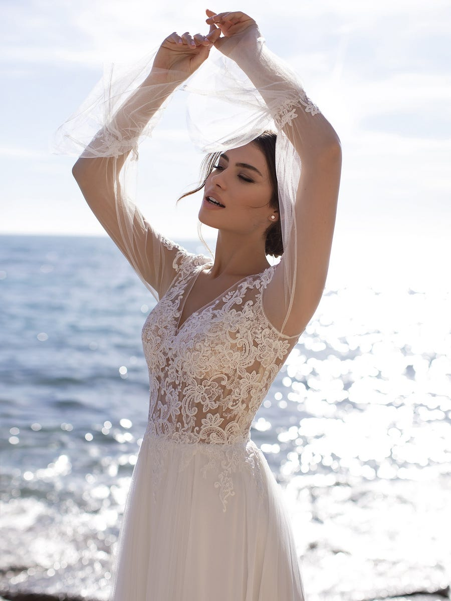 vestido novia periwinkle white one sublime wedding shop