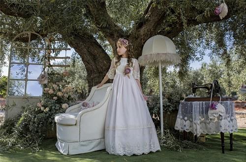 vestido comunion rosa modelo 30107 - cuerpo entero_opt