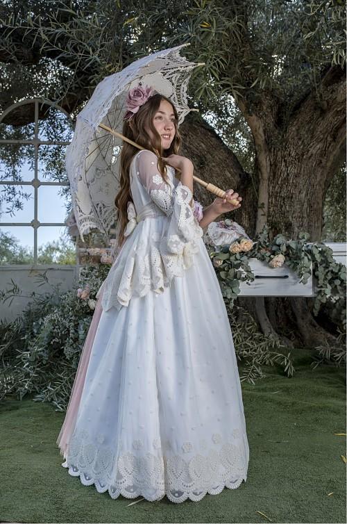 vestido comunion vintage con cola 30128 - cuerpo entero_opt