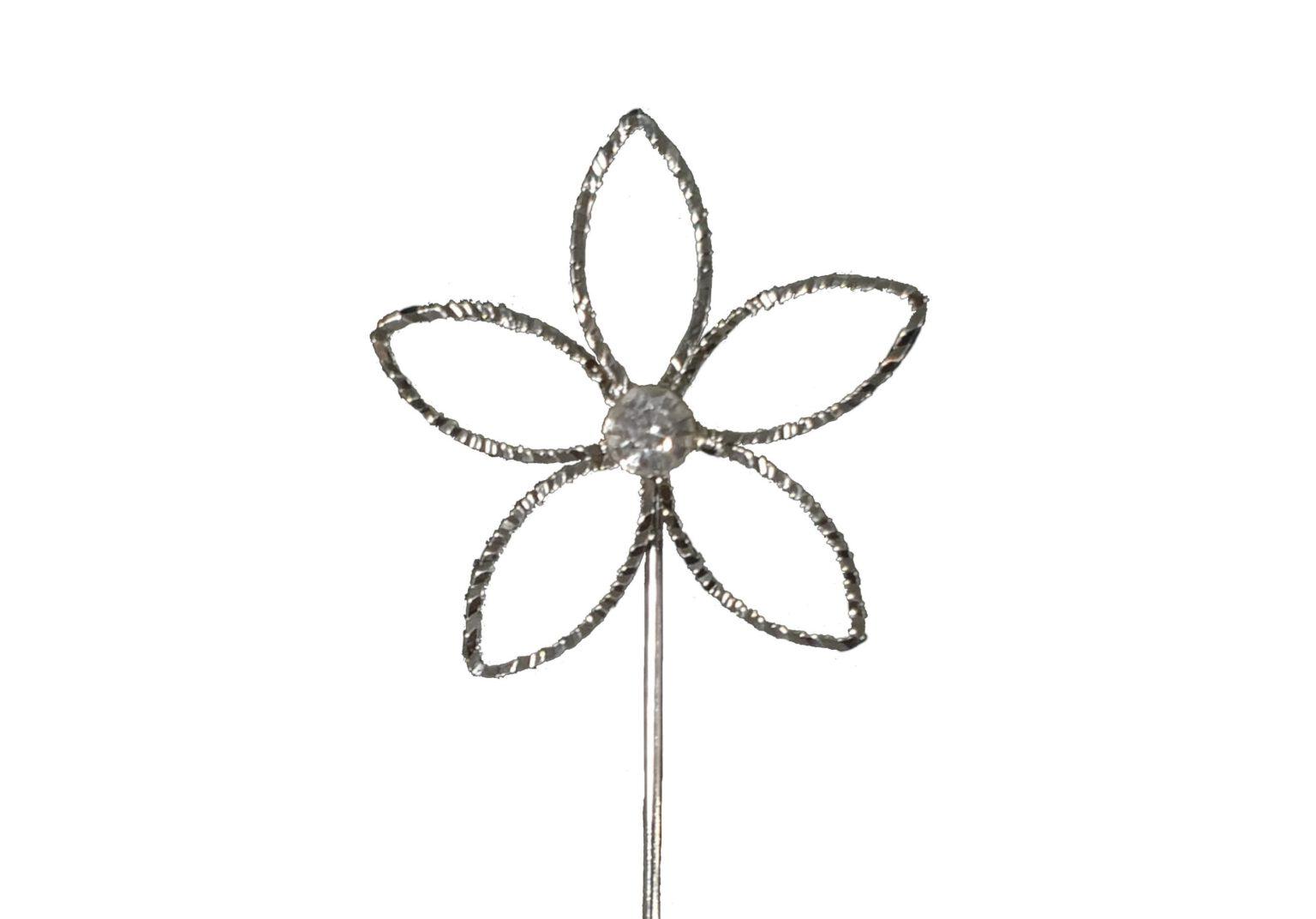 alfiler flor con perla central grande