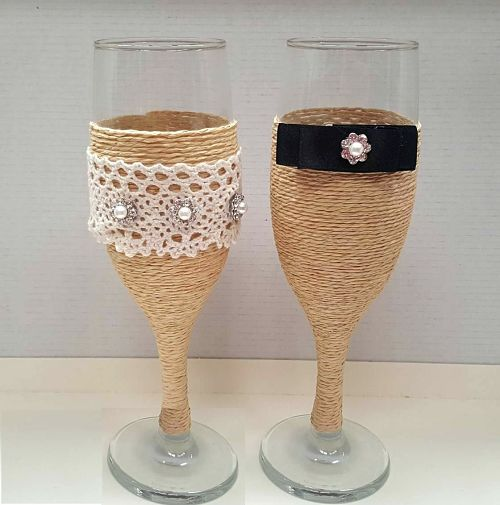 copa brindis novia rustica
